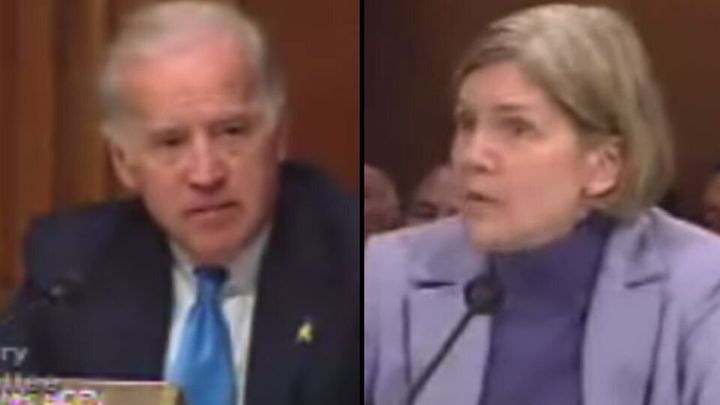 The ad video shows edited footage of then-Sen. Joe Biden discussing bankruptcy reform with then-Harvard Professor Elizabeth W