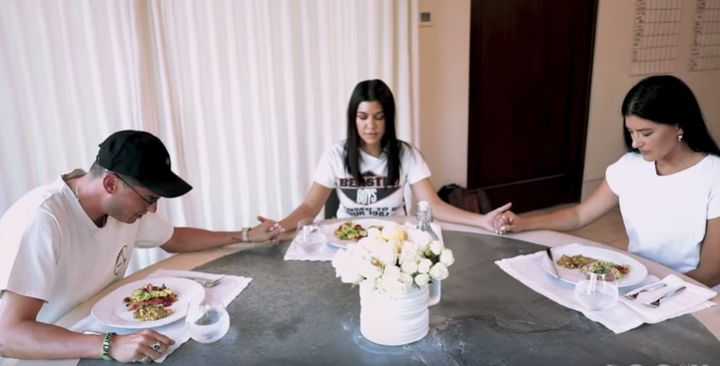 Pastors Chad and Julia Veach pray with Kourtney Kardashian in a video for Kardashian's new lifestyle website, Poosh.