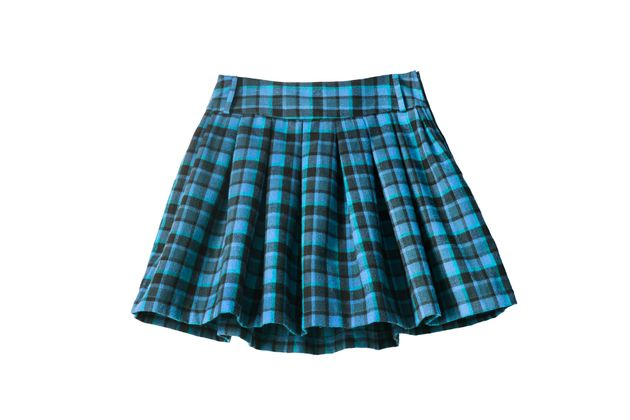 Plaid blue wool uniform skirt isolated over