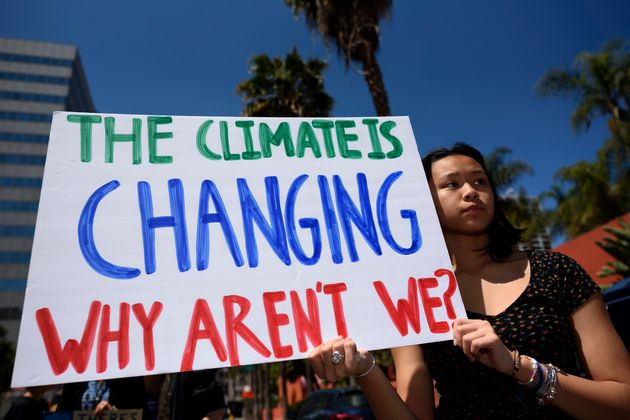 A protester at a climate change demonstration in Los Angeles in
