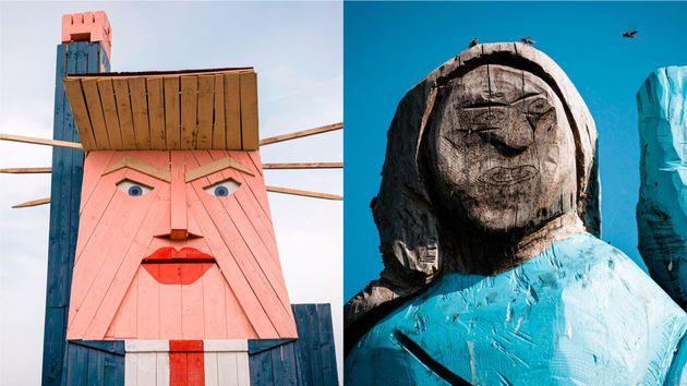 スロベニアに作られたトランプ夫妻の像
