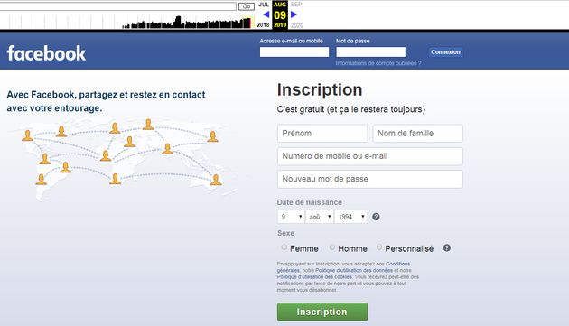 La page d'accueil de Facebook le 9 août