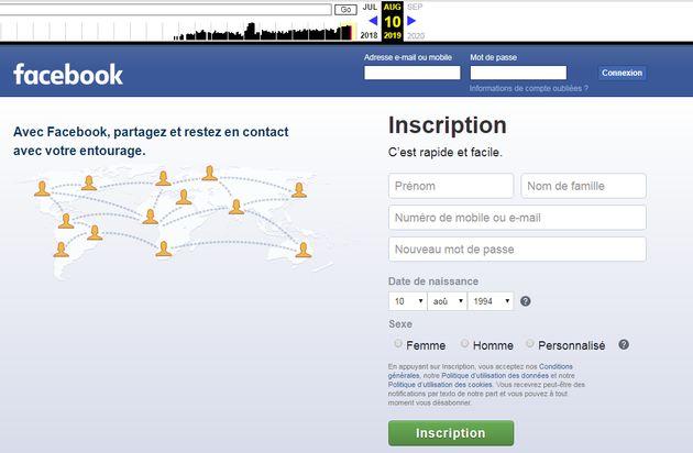 La page d'accueil de Facebook le 10 août