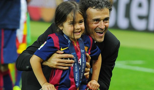 Barcelona Coach Luis Enrique and his daughter Xana Martinez celebrate winning the UEFA Champions League...