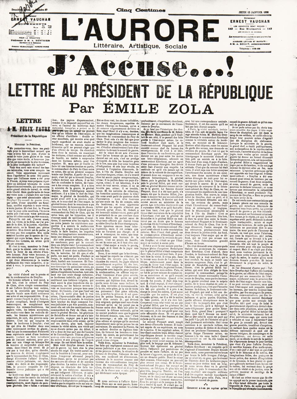 Poster. J'Accuse..!', letter by Emile Zola (1840-1902) to the French President Felix Faure, published...