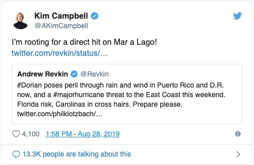 A screenshot of the tweet issued by former prime minister Kim Campbell, which was later