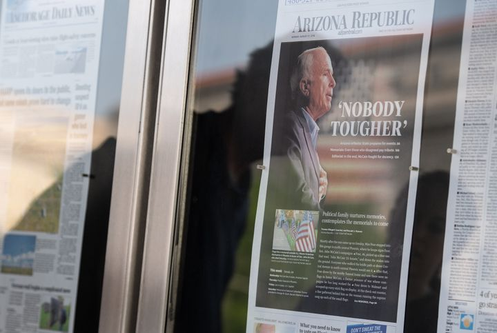 A copy of the Arizona Republic following the death of John McCain.