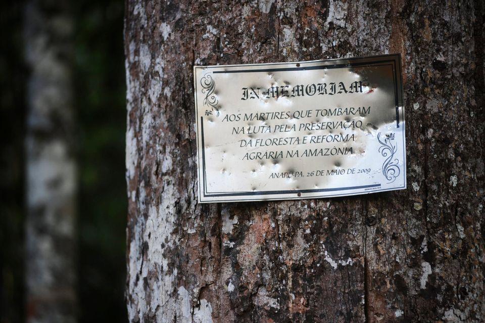 Placa de celebração em árvore ond Dorothy Stang foi morta em Anapu, no