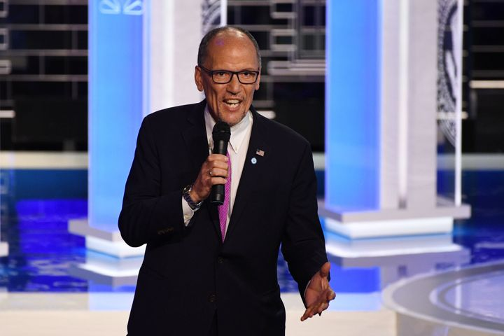 Chair of the Democratic National Committee, Tom Perez, speaks ahead of the first Democratic primary debate of the 2020 presid