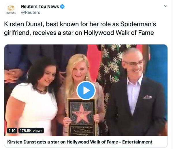 Westlake Legal Group 5d6997c1250000560000de0a Reuters Dismisses Kirsten Dunst As 'Spider-Man's Girlfriend' In Now-Deleted Tweet