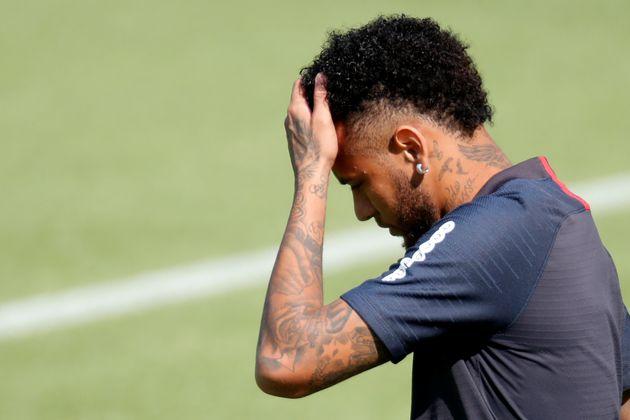 Neymar lors de l'entrainement du PSG le 29