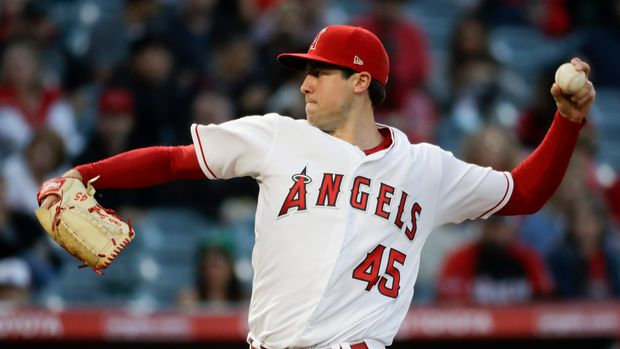 Los Angeles Angels starting pitcher Tyler Skaggs throws to a Toronto Blue Jays batter during the first inning of a baseball game in Anaheim, Calif., Thursday, May 2, 2019. (AP Photo/Chris Carlson)