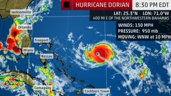 카테고리 4로 격상한 허리케인 도리안이 플로리다 반도로 다가서고
