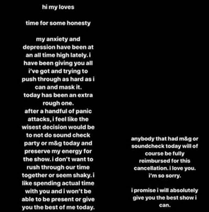 An excerpt of Ariana's statement
