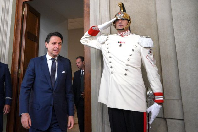 Designate premier Giuseppe Conte arrives to deliver his speech after a meeting with President Sergio...