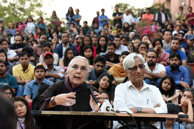 NEW DELHI, INDIA - MARCH 6: Historian Romila Thapar and Harbans Mukhia addressing students at Jawaharlal...