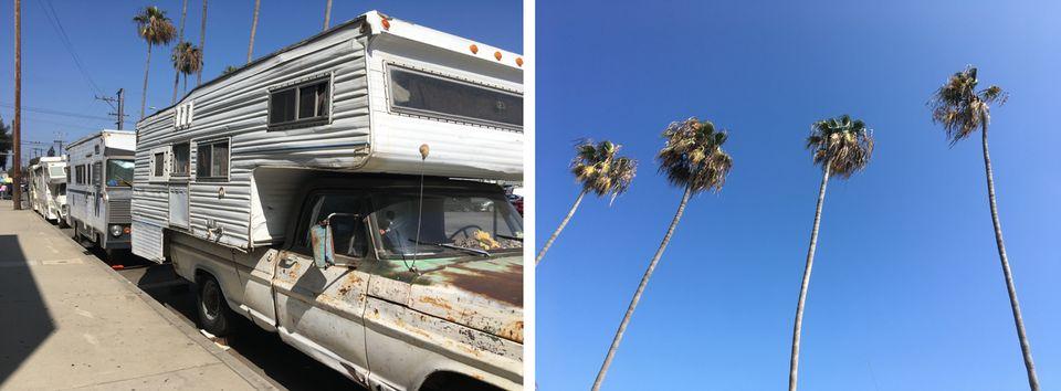 À Los Angeles, les camping-cars font désormais partie du paysage de certaines rues, comme...