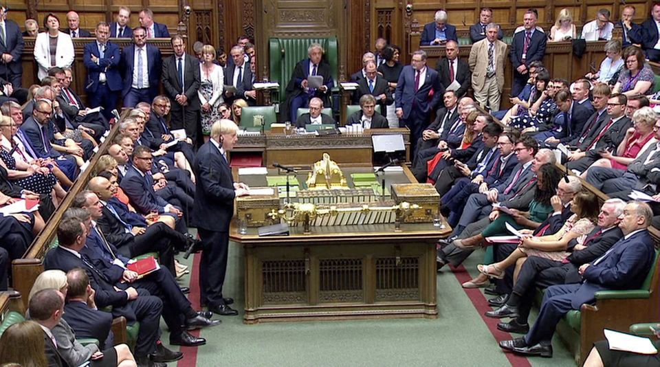 Boris Johnson speaking in the House of