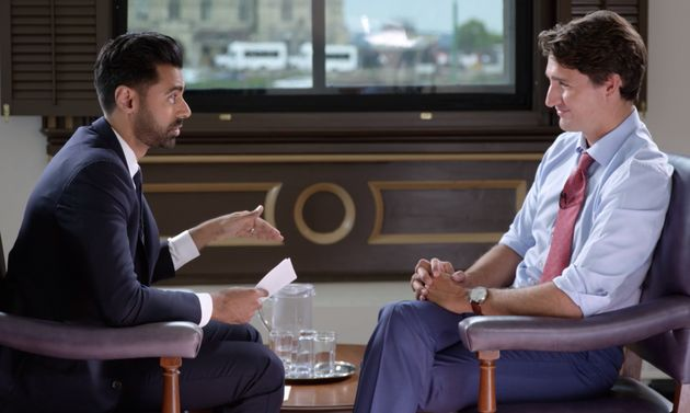 A screenshot of Hasan Minhaj interviewing Justin Trudeau on