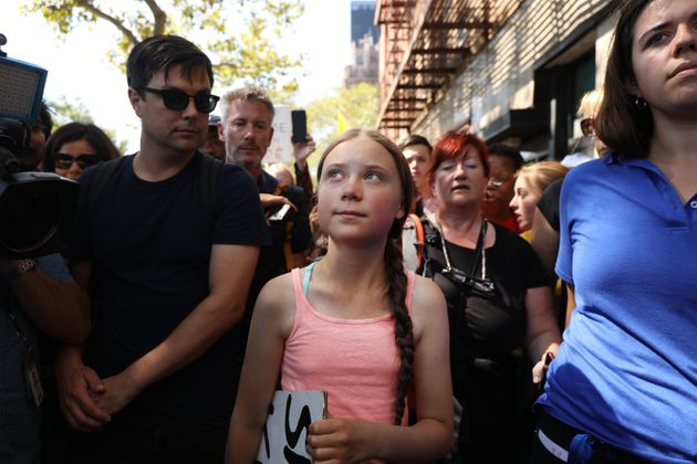 Greta Thunberg, 16, attends a youth-led protest in front of the UN in New York on