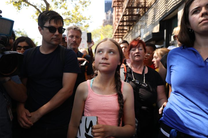 Greta Thunberg, 16, attends a youth-led protest in front of the UN in New York on Friday.