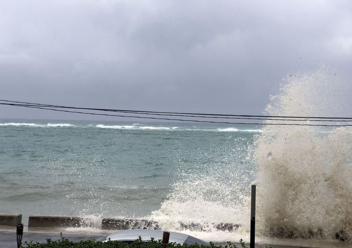Ocean waves are seen during the approach of Hurricane Dorian on Sunday in Nassau, Bahamas.