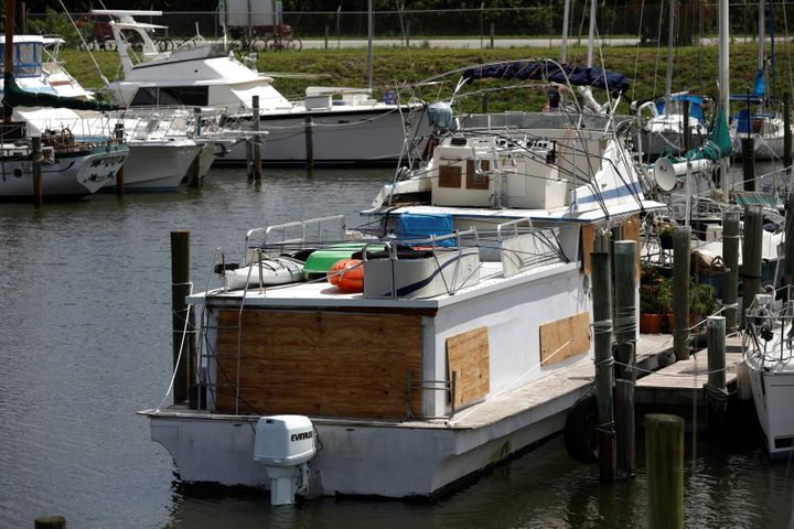 A boarded up ship is seen at a marina ahead of the arrival of Hurricane Dorian in Merritt Island, Florida, on Sunday.