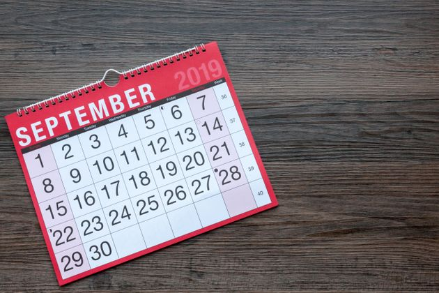 Calendar page showing the month of September