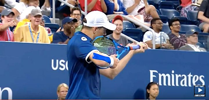 Doubles player Mike Bryan was fined Sunday after he turned around his racket and pretended to take aim at a line judge whose