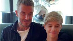 David Beckham felicita a su hijo Romeo vestido de