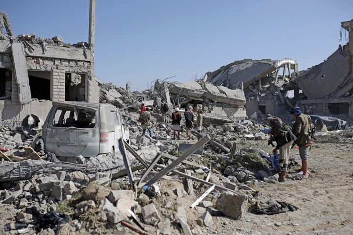 Multiple Saudi-led airstrikes destroyed a Houthi-run prison in Dhamar province, southwestern Yemen, Sunday, Sept. 1, 2019.&nb