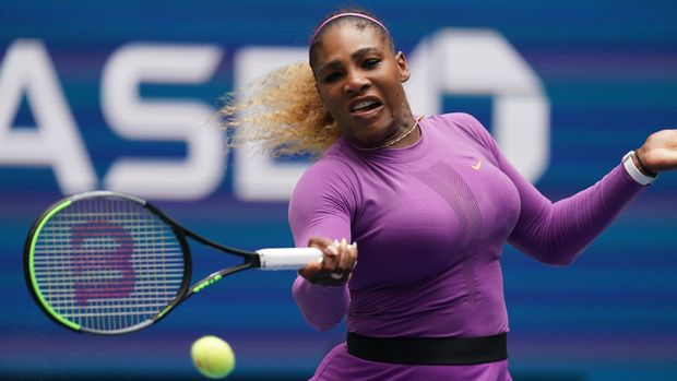 NEW YORK, NEW YORK - SEPTEMBER 01:  Serena Williams of United States returns a shot during her fourth round Women's Singles match against Petra Martic of Croatia on day seven of the 2019 US Open at the USTA Billie Jean King National Tennis Center on September 1, 2019 in Queens borough of New York City. (Photo by Michael Owens/Getty Images)