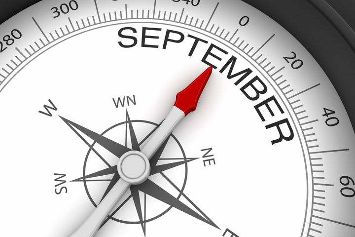 White Background, Black Frame Compass, Arrow pointing to September Month.