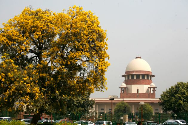 A view of Indian Supreme court main building from the supreme court lawn inside of the Indian Apex Court