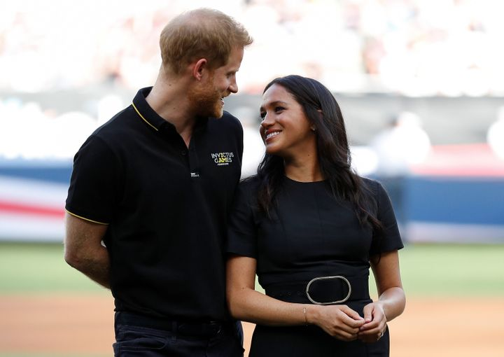 Harry and Meghan attend the Boston Red Sox v. New York Yankees match in London on June 29.