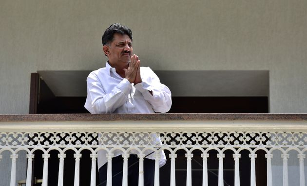 A 2017 photo of Shivakumar at his residence during I-Tax department raids at his houses and