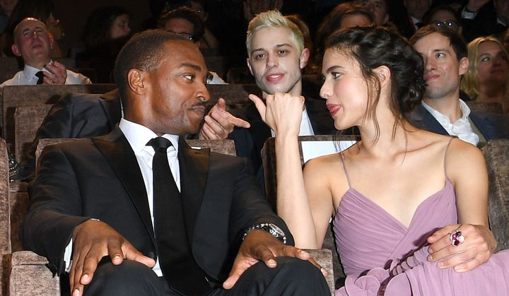 "Anthony Mackie, Pete Davidson and Margaret Qualley attend the ""Seberg"" screening during the 76th Venice Film Festival at Sala"