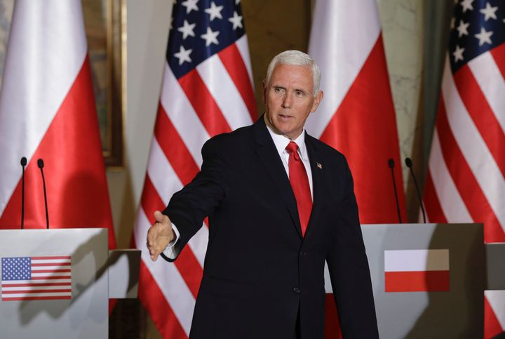 Vice President Mike Pence during joint press statements with Polish President Andrzej Duda after their meeting in Warsaw, Pol