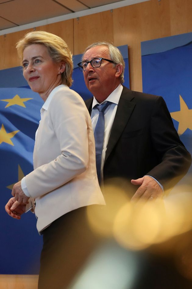 European Commission President Jean-Claude Juncker, right, welcomes newly designated European Commission...