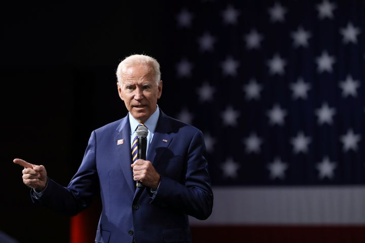 Biden speaks during the Presidential Gun Sense Forum in Des Moines, Iowa, U.S., August 10, 2019.