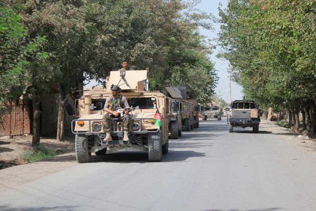아프가니스탄 정부군이 탈레반과의 교전을 위해 카불 북쪽 쿤두즈에 도착하는 모습. 2019년
