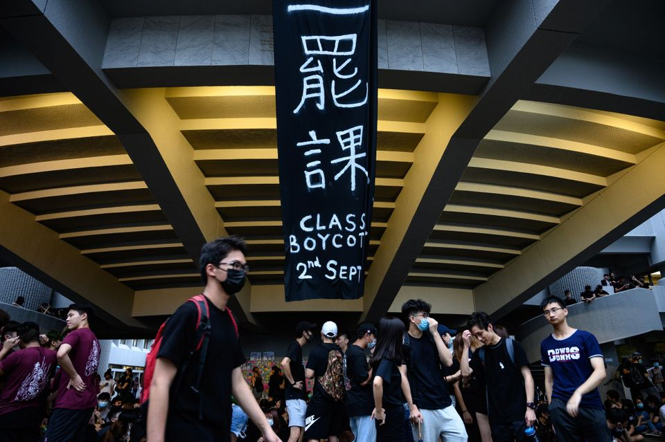 Students attend a school boycott rally at the Chinese University of Hong Kong on September 2, 2019, in...
