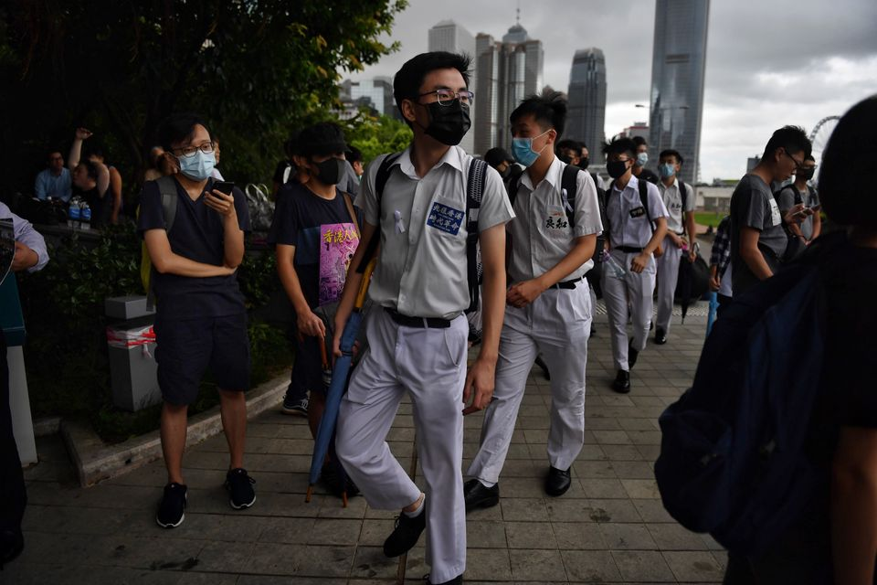 TOPSHOT - Protesters attend a rally at Tamar Park in Hong Kong on September 2, 2019, in the latest opposition...