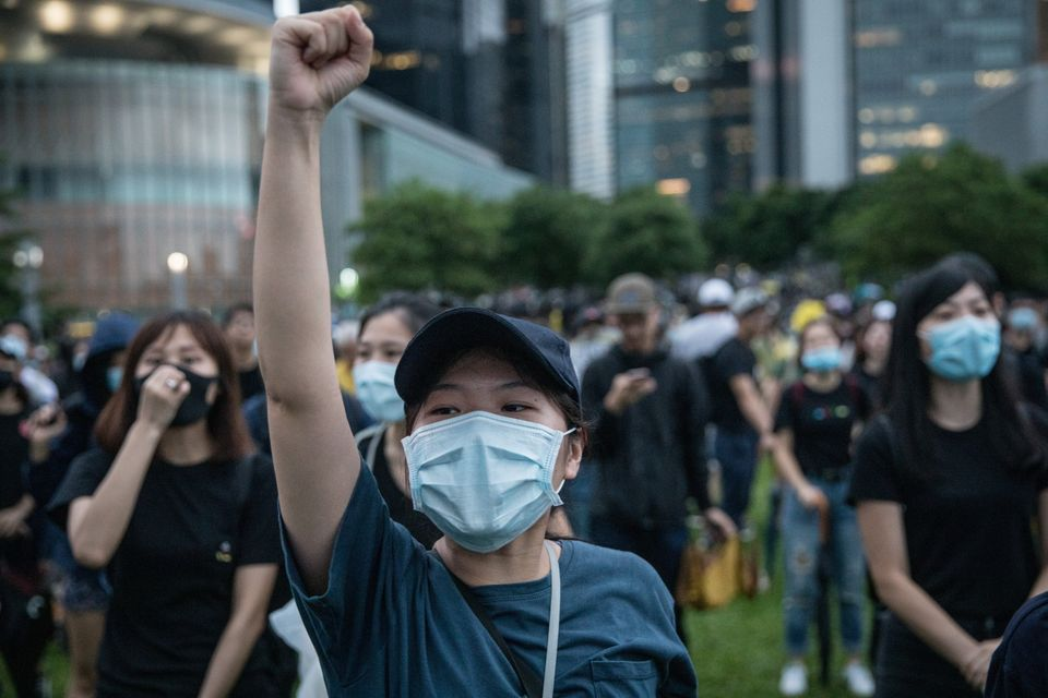 HONG KONG, CHINA - SEPTEMBER 02: Protesters take part in a school boycott rally at Tamer Park in Central...