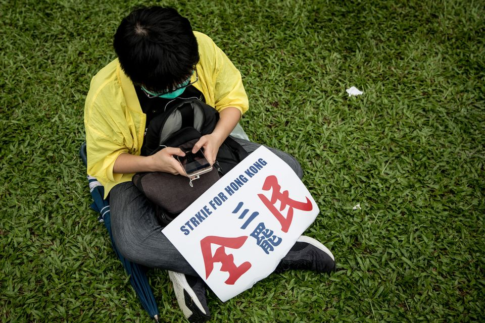 HONG KONG, CHINA - SEPTEMBER 02: A protester participates in a school boycott rally at Tamer Park in...