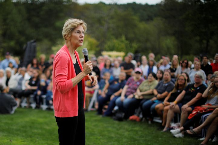 "Sen. Elizabeth Warren of Massachusetts said her history as a ""fighter"" would make her a strong competitor to take on Presiden"