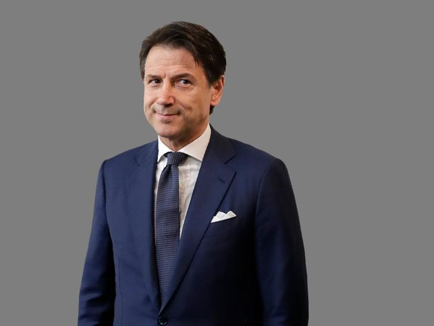 Giuseppe Conte headshot, as Italy premier-designate, graphic element on