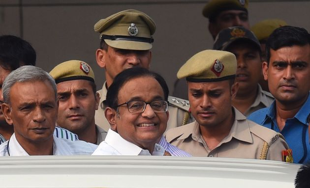 Senior Congress leader and former finance minister P Chidambaram comes out of Delhi's Rouse Avenue Court...