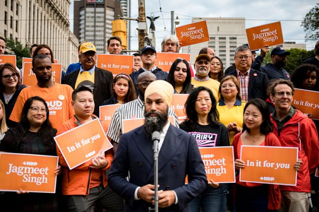 NDP Leader Jagmeet Singh makes an announcement in Toronto on