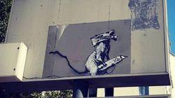 Les images du vol (pas discret) d'une œuvre de Banksy à